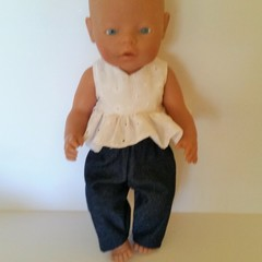 Doll clothes for Baby Born doll Top and jeans style pants