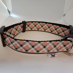 Orange checked adjustable dog collars medium / large