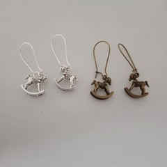 Silver and bronze rocking horse charm earrings