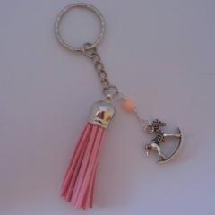 Rocking horse charm pink key ring
