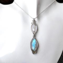 Labradorite & Rainbow Moonstone pendant sterling wrapped