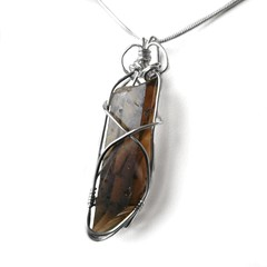 Smoky Quartz crystal point Sterling silver wire wrapped pendant