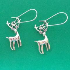 Silver reindeer charm earrings
