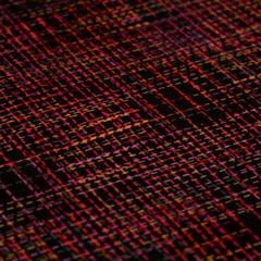 Rainbow stitch print on black fabric - Cotton Fabric - Price per half metre