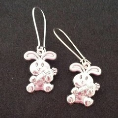 Silver bunny earrings / Easter earrings