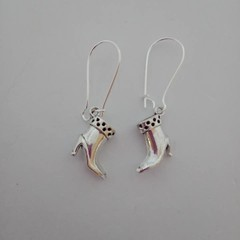 Silver boot charm earrings