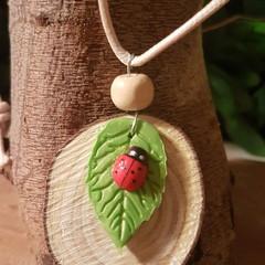 Ladybug on Leaf Necklace