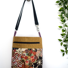 Japanese Flower Cross Body Tote/ Handbag