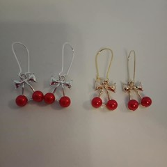 Silver and gold cherry charm earrings