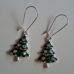 Silver and green Christmas tree charm earrings