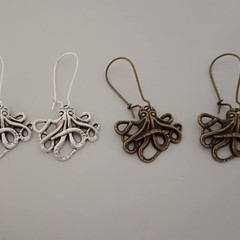 Silver and bronze octopus steampunk earrings