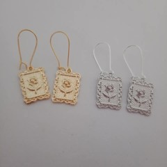 Rose postage stamp charm earrings