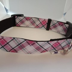 Pink check adjustable dog collars medium / large