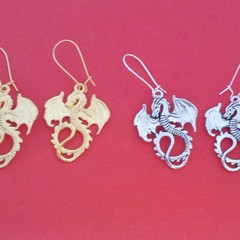 Silver and gold dragon charm earrings