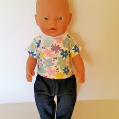 Doll clothes for Baby Born doll T shirt  and Denim  Pants set