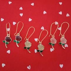 Gold rose charm earrings