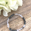 Agate, Laboradite & Sterling Silver Plated Gemstone Crystal Bead  Bracelet - Wed