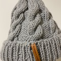 Handmade knitted grey cable beanie men's or ladies alpaca