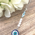 Lava and Amazonite  Gemstone Essential Oil Diffuser Car Charm with Evil Eye Char
