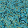 Blue swirl fabric with gold accents - Cotton Fabric - Price per half metre