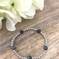Sterling Silver Plated 4mm bead & Snowflake Obsidian Faceted Natural Stone Gemst