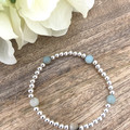 Sterling Silver Plated 4mm bead & Amazonite Faceted Natural Gemstone Crystal Bra
