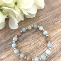 8mm Amazonite Faceted Natural Gemstone Crystal Healing and Sterling Silver Bead
