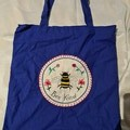 Ultramarine Blue tote bag with embroidery of Bee