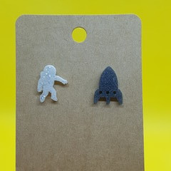 Resin astronaut and rocket stud earrings