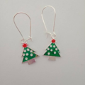Green Christmas tree earrings