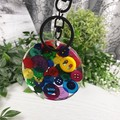 Round Resin Keyring - RAINBOW Multicoloured Buttons - Bag Tag - Identifier