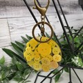 Round Resin Keyring - YELLOW Buttons - Bag Tag - Luggage Identifier