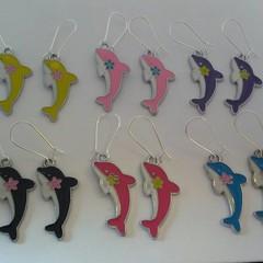Dolphin enamel earrings