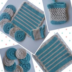 Crocheted Face Washed, Soap Saver & Face Scrubber Set