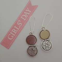 Silver compact / make-up charm earrings