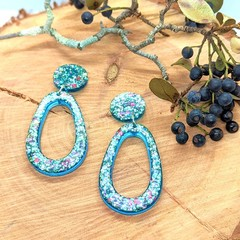 Blue Glitter Vibes Statement Dangles Collection