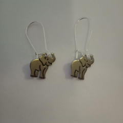 Silver elephant charm earrings