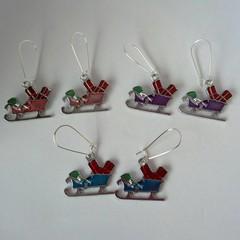 Silver enamel Santa sleigh earrings