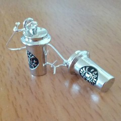 Silver coffee cup charm earrings
