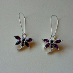 Silver dragonfly earrings with purple stones