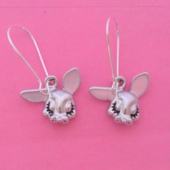 Silver enamel bunny earrings / Easter earrings