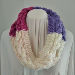 Hand Knitted Continuous Cable Scarf - Pink Purple & White