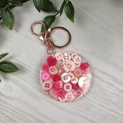 Round Resin Keyring - PINK Buttons - Bag Tag - Luggage Identifier