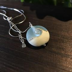 Handmade Glass Lampwork Ocean Coin Lentil Bead Sterling Silver Necklace OOAK