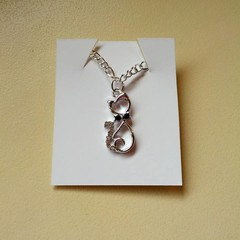 Silver cat charm necklace