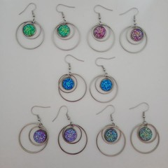 Silver circle stone dangle earrings