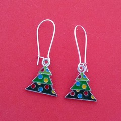 Christmas tree earrings with baubles