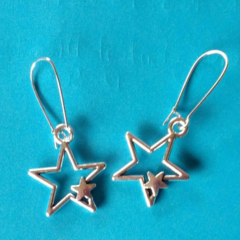 Silver celestial star charm earrings