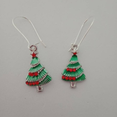 Green Christmas tree and decoration charm earrings