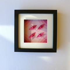 Colourful cranes framed for good luck and to enjoy everyday - ideal gift ideas